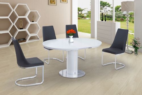 ECLIPSE Round / Oval Gloss & Glass Extending 110 to 145 cm Dining Table - WHITE
